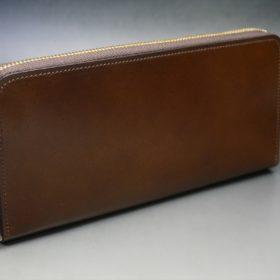 レーデルオガワ社製染料仕上げコードバンのコーヒーブラウン色のラウンドファスナー長財布(ゴールド色)-2-2