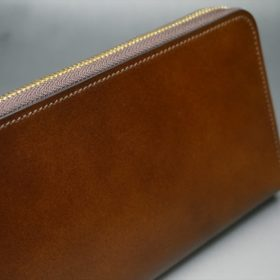 レーデルオガワ社製染料仕上げコードバンのコーヒーブラウン色のラウンドファスナー長財布(ゴールド色)-2-4