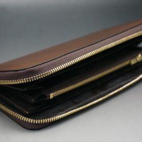 レーデルオガワ社製染料仕上げコードバンのコーヒーブラウン色のラウンドファスナー長財布(ゴールド色)-2-5