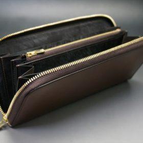レーデルオガワ社製染料仕上げコードバンのコーヒーブラウン色のラウンドファスナー長財布(ゴールド色)-2-6