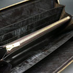 レーデルオガワ社製染料仕上げコードバンのコーヒーブラウン色のラウンドファスナー長財布(ゴールド色)-2-7