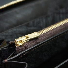 レーデルオガワ社製染料仕上げコードバンのコーヒーブラウン色のラウンドファスナー長財布(ゴールド色)-2-8