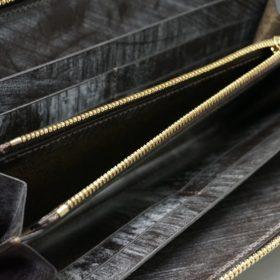 レーデルオガワ社製染料仕上げコードバンのコーヒーブラウン色のラウンドファスナー長財布(ゴールド色)-2-9