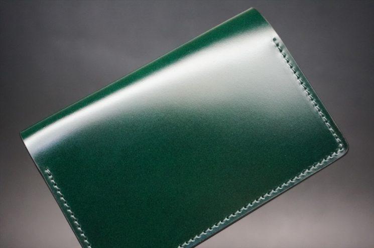 レーデルオガワ社製染料仕上げコードバンのグリーン色の名刺入れ-1-1