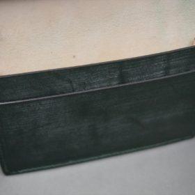 レーデルオガワ社製染料仕上げコードバンのグリーン色の名刺入れ-1-10