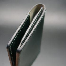 レーデルオガワ社製染料仕上げコードバンのグリーン色の名刺入れ-1-5