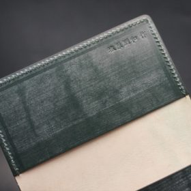 レーデルオガワ社製染料仕上げコードバンのグリーン色の名刺入れ-1-9