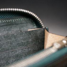 レーデルオガワ社製染料仕上げコードバンのグリーン色のラウンドファスナー長財布(シルバー色)-1-10
