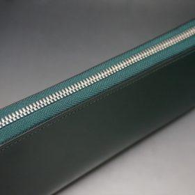 レーデルオガワ社製染料仕上げコードバンのグリーン色のラウンドファスナー長財布(シルバー色)-1-3