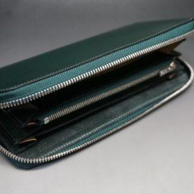 レーデルオガワ社製染料仕上げコードバンのグリーン色のラウンドファスナー長財布(シルバー色)-1-5