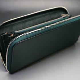 レーデルオガワ社製染料仕上げコードバンのグリーン色のラウンドファスナー長財布(シルバー色)-1-6