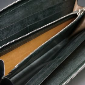 レーデルオガワ社製染料仕上げコードバンのグリーン色のラウンドファスナー長財布(シルバー色)-1-8