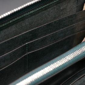レーデルオガワ社製染料仕上げコードバンのグリーン色のラウンドファスナー長財布(シルバー色)-1-9