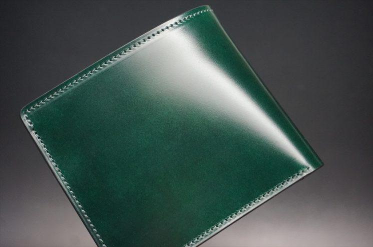 レーデルオガワ社製染料仕上げコードバンのグリーン色の二つ折り財布(ゴールド色)-1-1