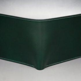 レーデルオガワ社製染料仕上げコードバンのグリーン色の二つ折り財布(ゴールド色)-1-2