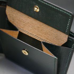 レーデルオガワ社製染料仕上げコードバンのグリーン色の二つ折り財布(ゴールド色)-1-8