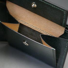 レーデルオガワ社製染料仕上げコードバンのグリーン色の二つ折り財布(シルバー色)-1-10
