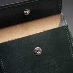 レーデルオガワ社製染料仕上げコードバンのグリーン色の二つ折り財布(シルバー色)-1-11