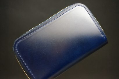 レーデルオガワ社製染料仕上げコードバンのネイビー色のラウンドファスナー小銭入れ(ゴールド色)-1-1