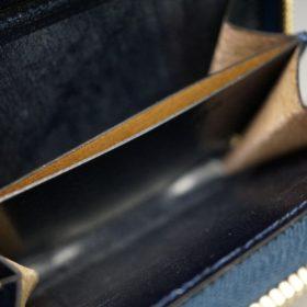 レーデルオガワ社製染料仕上げコードバンのネイビー色のラウンドファスナー小銭入れ(ゴールド色)-1-10