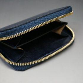 レーデルオガワ社製染料仕上げコードバンのネイビー色のラウンドファスナー小銭入れ(ゴールド色)-1-6