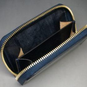 レーデルオガワ社製染料仕上げコードバンのネイビー色のラウンドファスナー小銭入れ(ゴールド色)-1-8