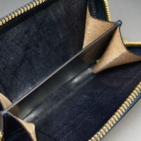レーデルオガワ社製染料仕上げコードバンのネイビー色のラウンドファスナー小銭入れ(ゴールド色)-1-9
