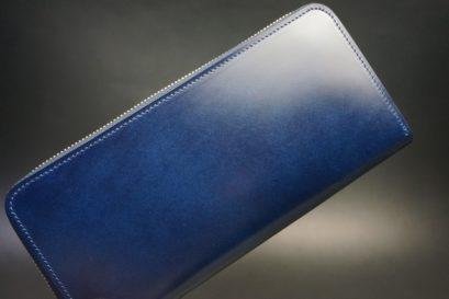 レーデルオガワ社製染料仕上げコードバンのネイビー色のラウンドファスナー長財布(ゴールド色)-1-1