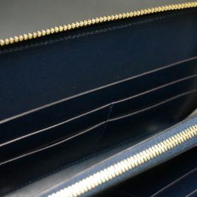 レーデルオガワ社製染料仕上げコードバンのネイビー色のラウンドファスナー長財布(ゴールド色)-1-10