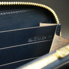 レーデルオガワ社製染料仕上げコードバンのネイビー色のラウンドファスナー長財布(ゴールド色)-1-11