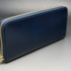 レーデルオガワ社製染料仕上げコードバンのネイビー色のラウンドファスナー長財布(ゴールド色)-1-2