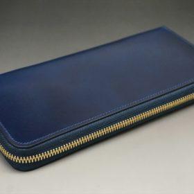レーデルオガワ社製染料仕上げコードバンのネイビー色のラウンドファスナー長財布(ゴールド色)-1-4