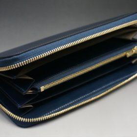 レーデルオガワ社製染料仕上げコードバンのネイビー色のラウンドファスナー長財布(ゴールド色)-1-5