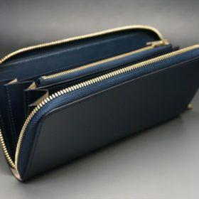 レーデルオガワ社製染料仕上げコードバンのネイビー色のラウンドファスナー長財布(ゴールド色)-1-6