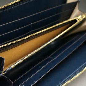 レーデルオガワ社製染料仕上げコードバンのネイビー色のラウンドファスナー長財布(ゴールド色)-1-8