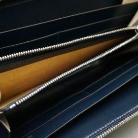 レーデルオガワ社製染料仕上げコードバンのネイビー色のラウンドファスナー長財布(シルバー色)-1-9
