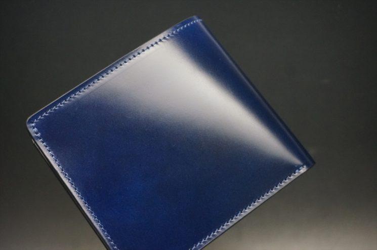 レーデルオガワ社製染料仕上げコードバンのネイビー色の二つ折り財布(シルバー色)-1-1