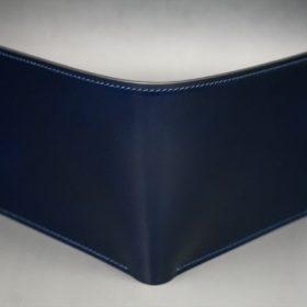 レーデルオガワ社製染料仕上げコードバンのネイビー色の二つ折り財布(シルバー色)-1-2