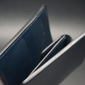 レーデルオガワ社製染料仕上げコードバンのネイビー色の二つ折り財布(シルバー色)-1-3