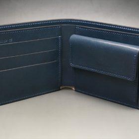 レーデルオガワ社製染料仕上げコードバンのネイビー色の二つ折り財布(シルバー色)-1-5