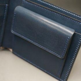 レーデルオガワ社製染料仕上げコードバンのネイビー色の二つ折り財布(シルバー色)-1-7