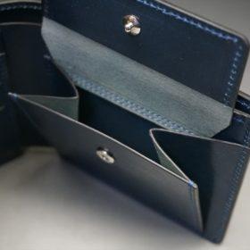レーデルオガワ社製染料仕上げコードバンのネイビー色の二つ折り財布(シルバー色)-1-8