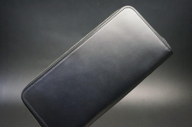 レーデルオガワ社製オイルコードバンのブラック色のラウンドファスナー長財布(シルバー色)-1-1