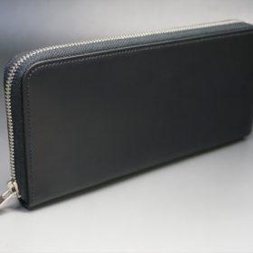 レーデルオガワ社製オイルコードバンのブラック色のラウンドファスナー長財布(シルバー色)-1-2
