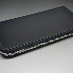レーデルオガワ社製オイルコードバンのブラック色のラウンドファスナー長財布(シルバー色)-1-4