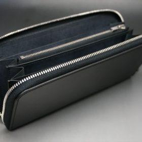 レーデルオガワ社製オイルコードバンのブラック色のラウンドファスナー長財布(シルバー色)-1-5