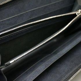 レーデルオガワ社製オイルコードバンのブラック色のラウンドファスナー長財布(シルバー色)-1-7