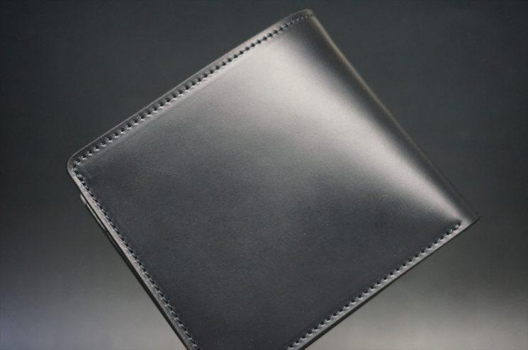 レーデルオガワ社製オイル仕上げコードバンのブラック色の二つ折り財布(ゴールド色)-1-1