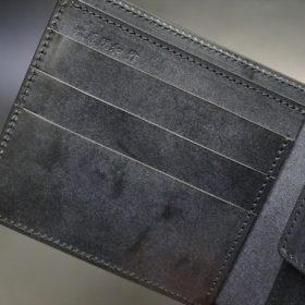レーデルオガワ社製オイル仕上げコードバンのブラック色の二つ折り財布(ゴールド色)-1-6