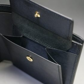 レーデルオガワ社製オイル仕上げコードバンのブラック色の二つ折り財布(ゴールド色)-1-8